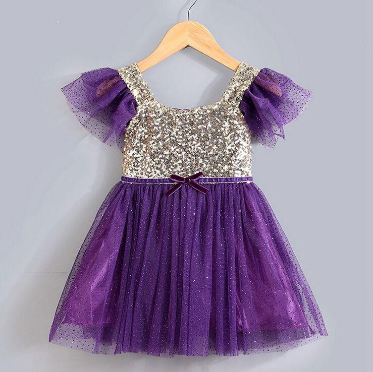 2016 summer girls paillette dress cute mesh dress party sequins tutu ...