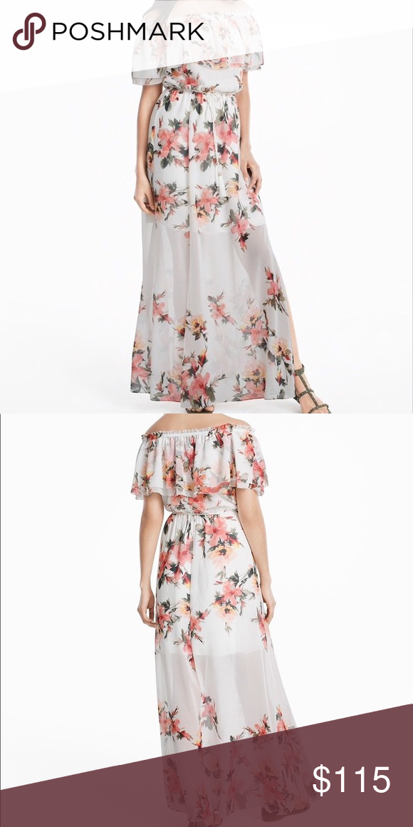 4ebe05c6f368 PRICE DROP ⬇ 🌸 Off Shoulder Floral Maxi Dress NWOT • Never Worn White  House Black Market Lined to the knee Can wear off shoulder or one  shouldered White ...
