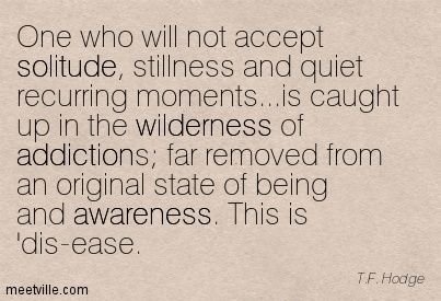 One who will not accept solitude, stillness and quiet recurring moments...is caught up in the wilderness of addictions