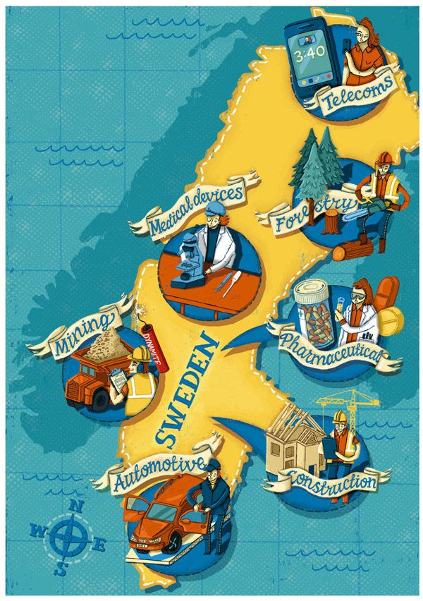 Business Map Of Sweden By Elly Walton Via Behance Illustrated - Sweden map poster