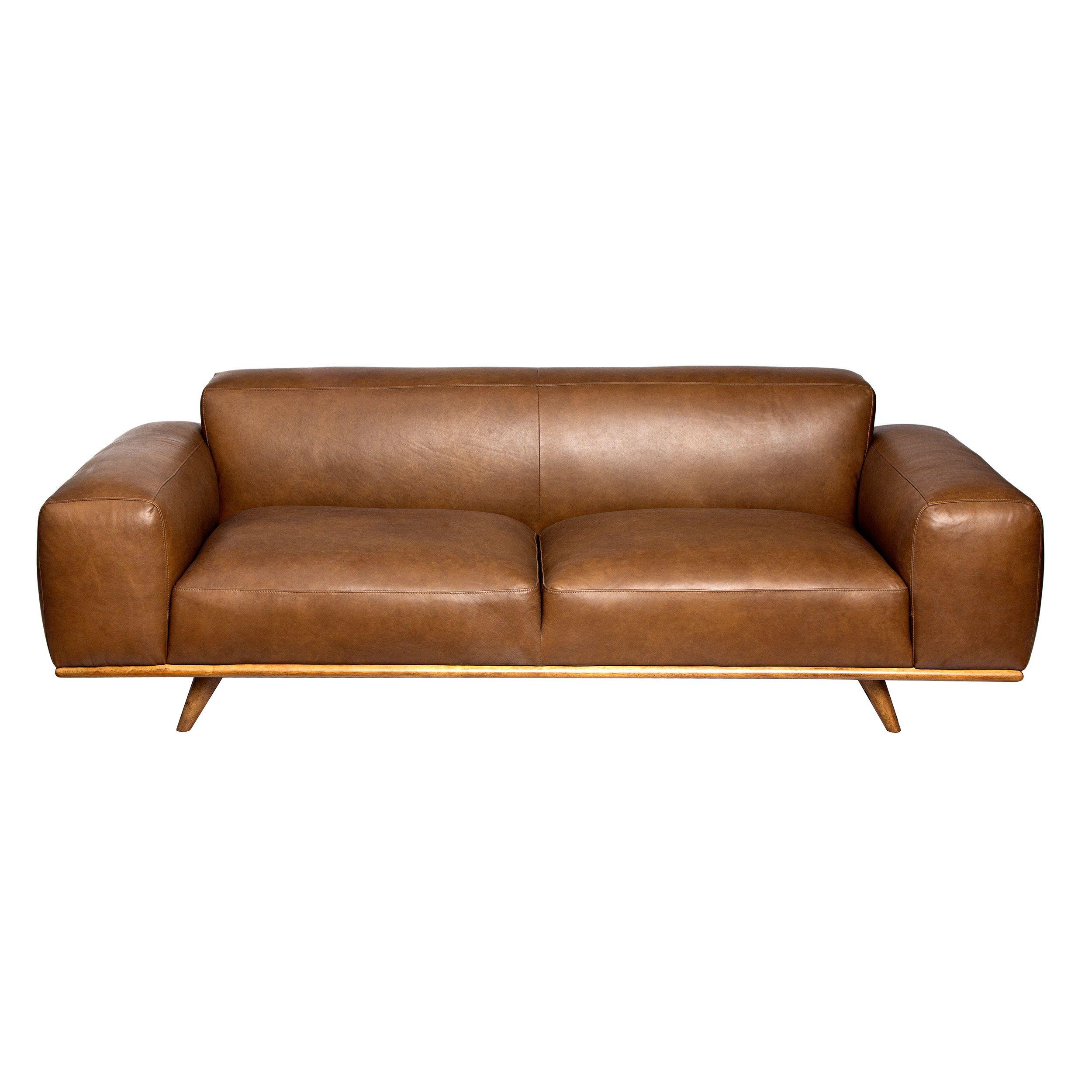 Dante Italian Oxford Tan Leather Sofa Brown