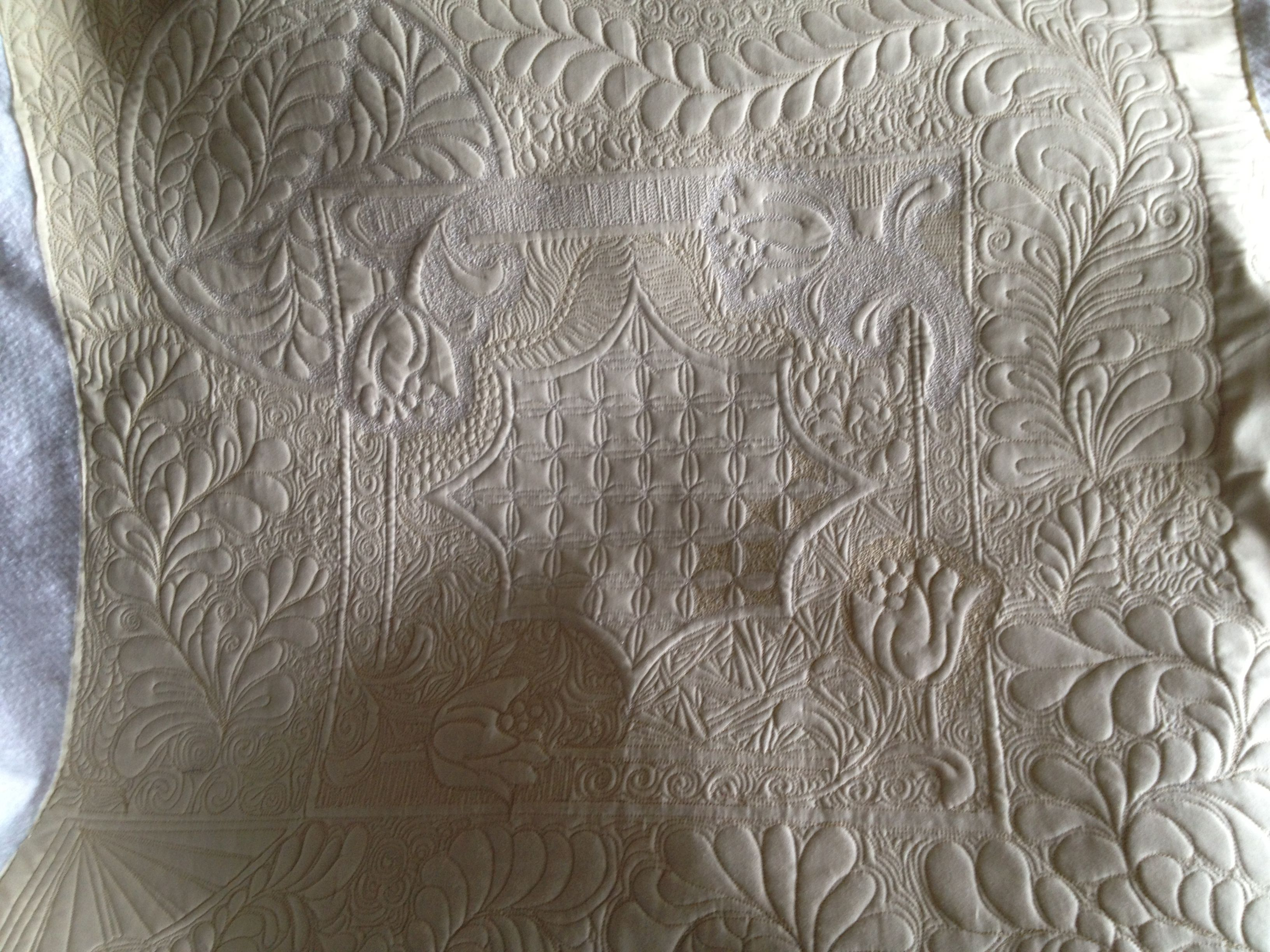 My first whole cloth quilt I m addicted