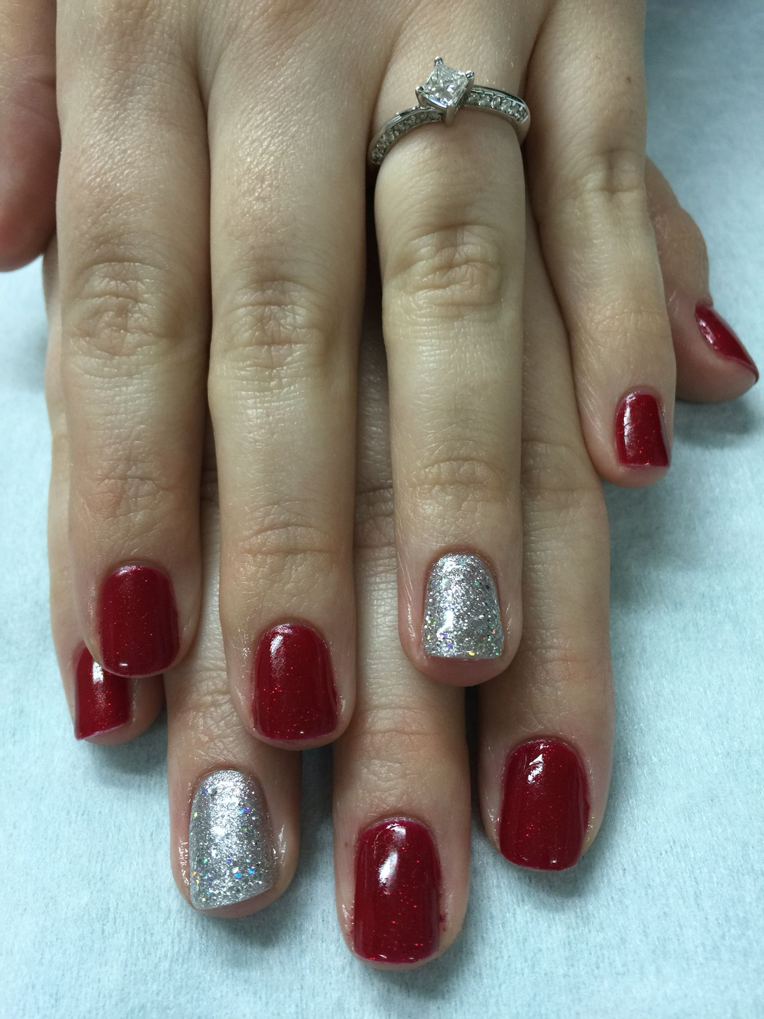 Simple Christmas Red Silver Sparkle Gel Polish Nails Nail Polish Ideas Easy Holiday Nail Art Nail Designs Unique