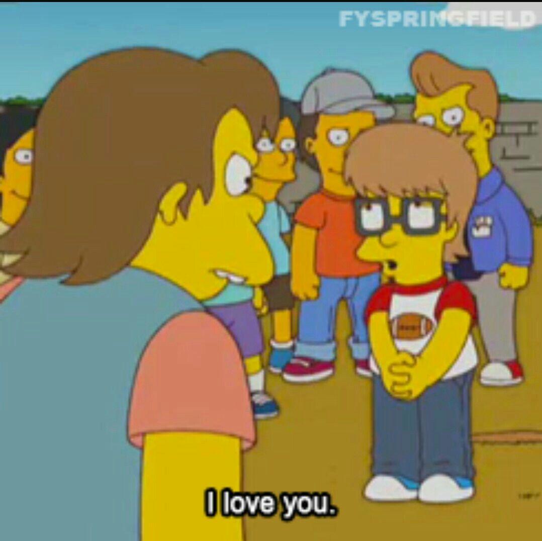 lisa tells nelson she loves him simpsons cute lisa nelson the