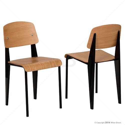 Set Of 2 Standard Chair Jean Prouve Reproduction Black Frame 17 Off 199 00 Milan