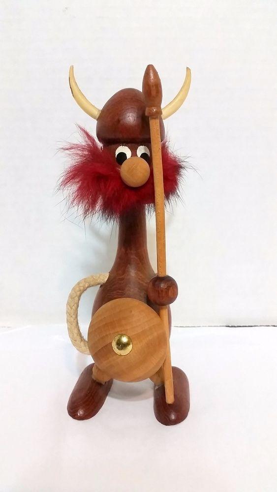 Danish Modern Viking Figurine Teak Wood Mid Century Denmark Rasmussen Import