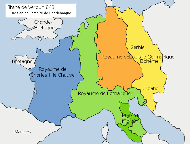 Divison du royaume des Francs au traité de Verdun