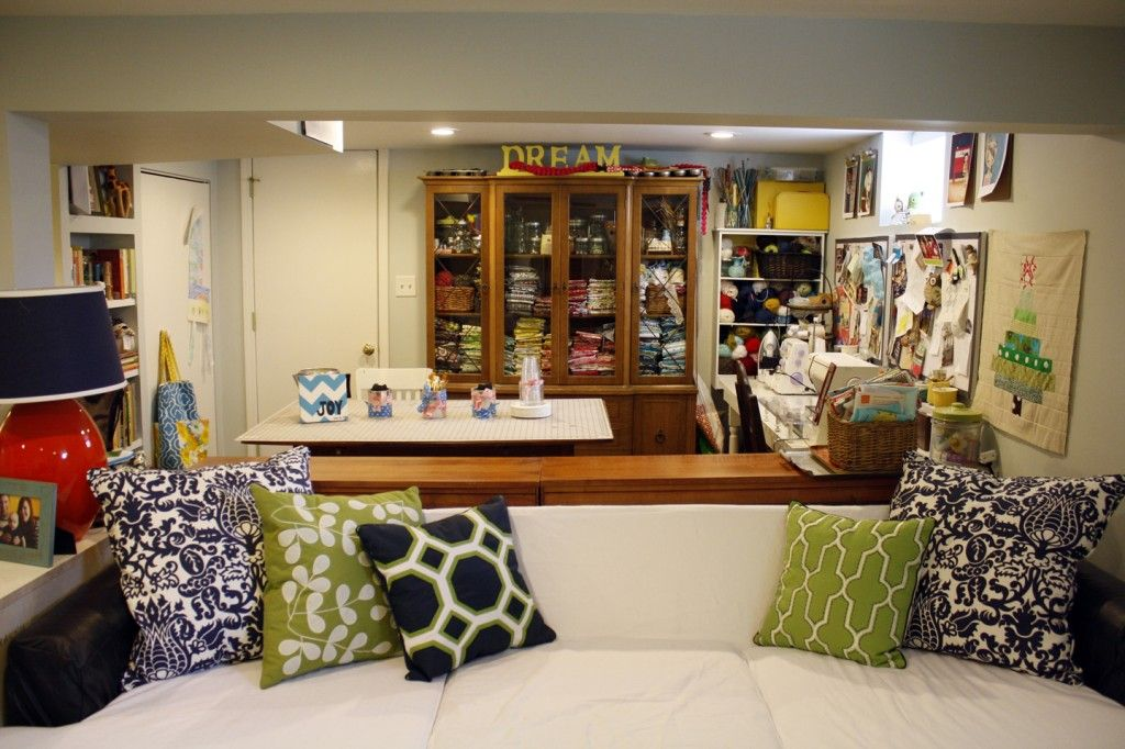 Lets Take A Tour Woollypetals Family Room Sofa Room Furniture Home Decor Living room to sewing room