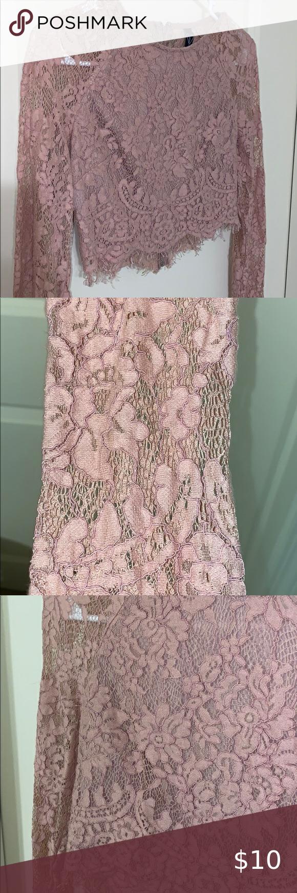 Faded Pink Lace Crop Top Faded Pink Lace Crop Top