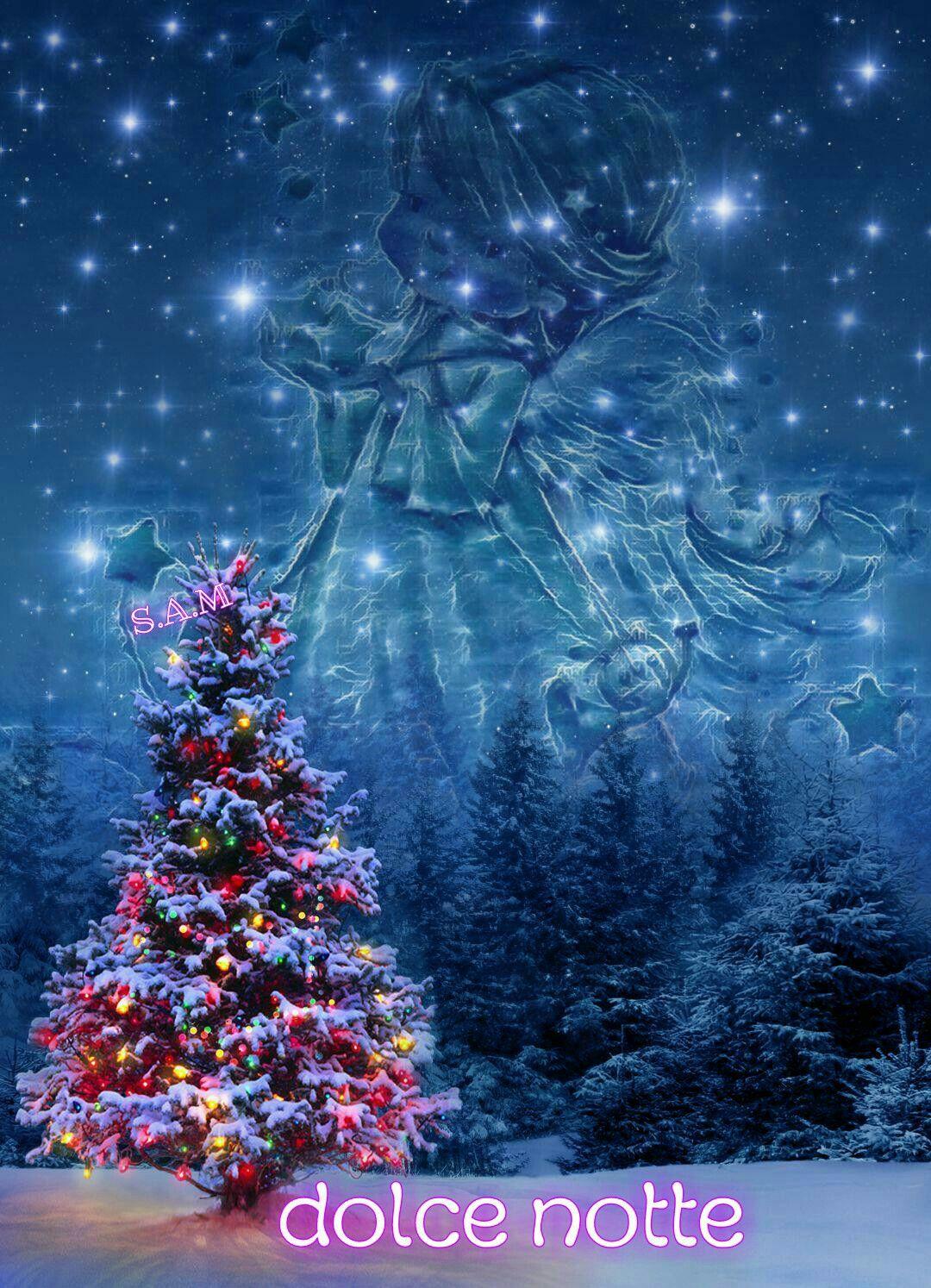 Immagini Di Buona Notte Di Natale.Buona Notte Buonanotte Alberi Di Natale Notte