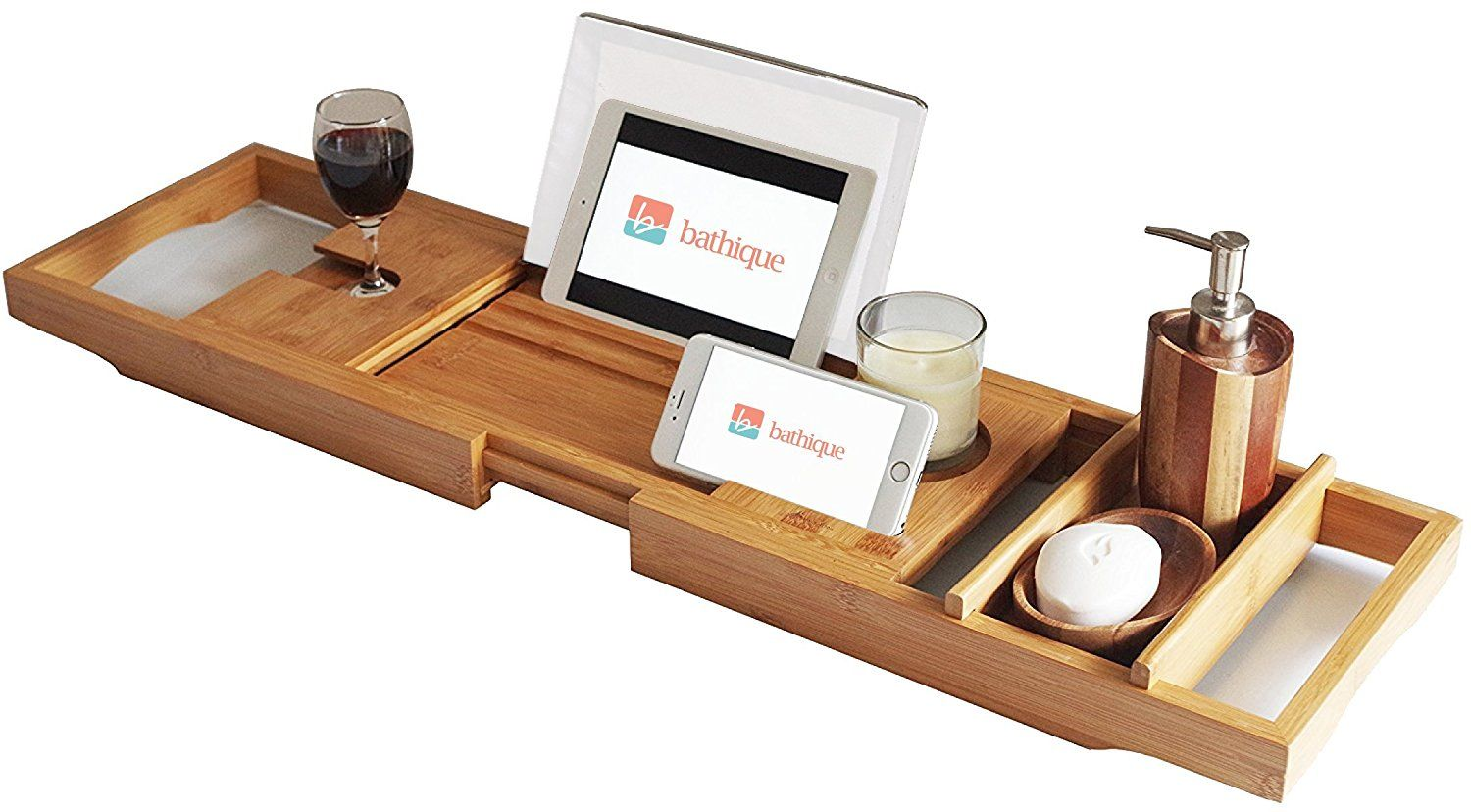 Bamboo Bathtub Caddy - Bath Book Holder - Bathroom Bathtub Tray ...