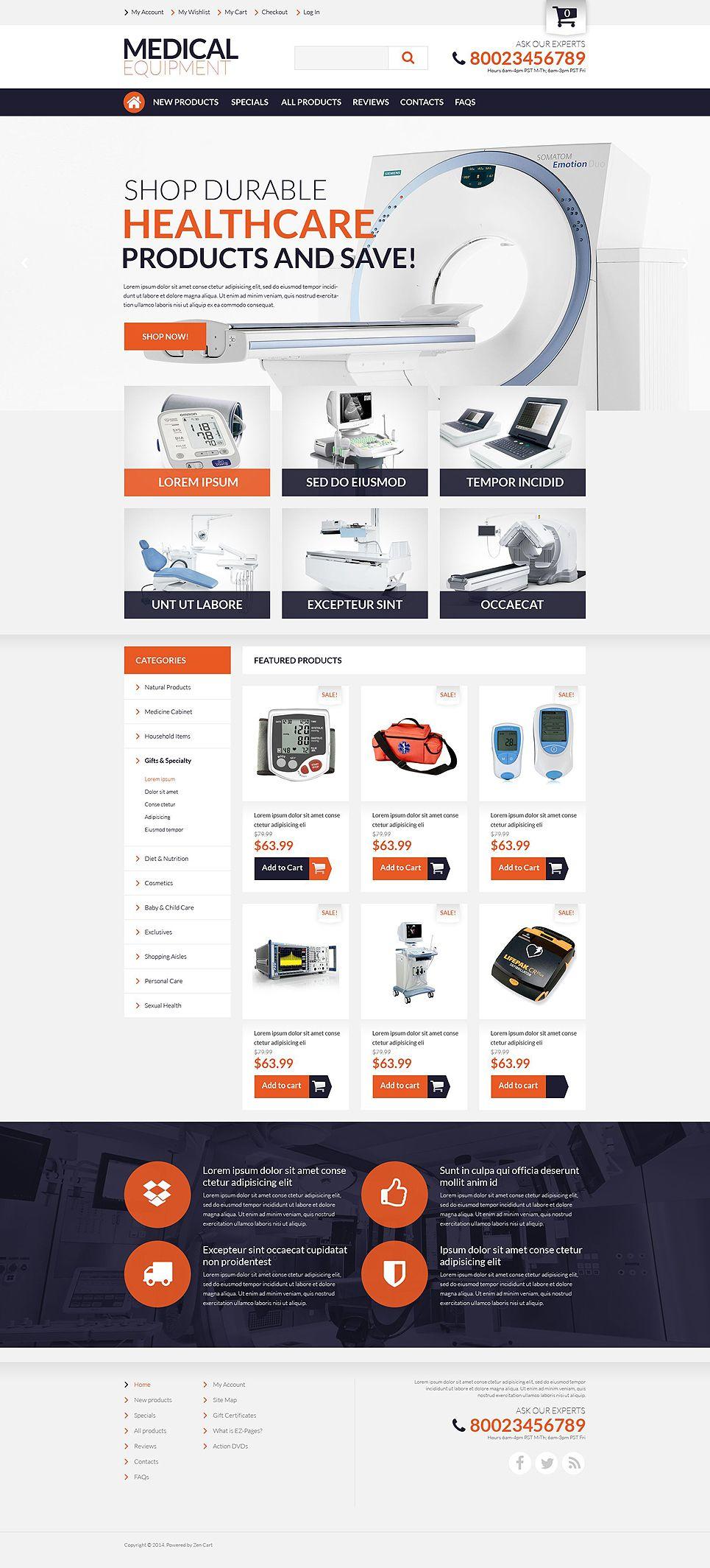 Medical Supplies ZenCart Template Design Bundle Pinterest