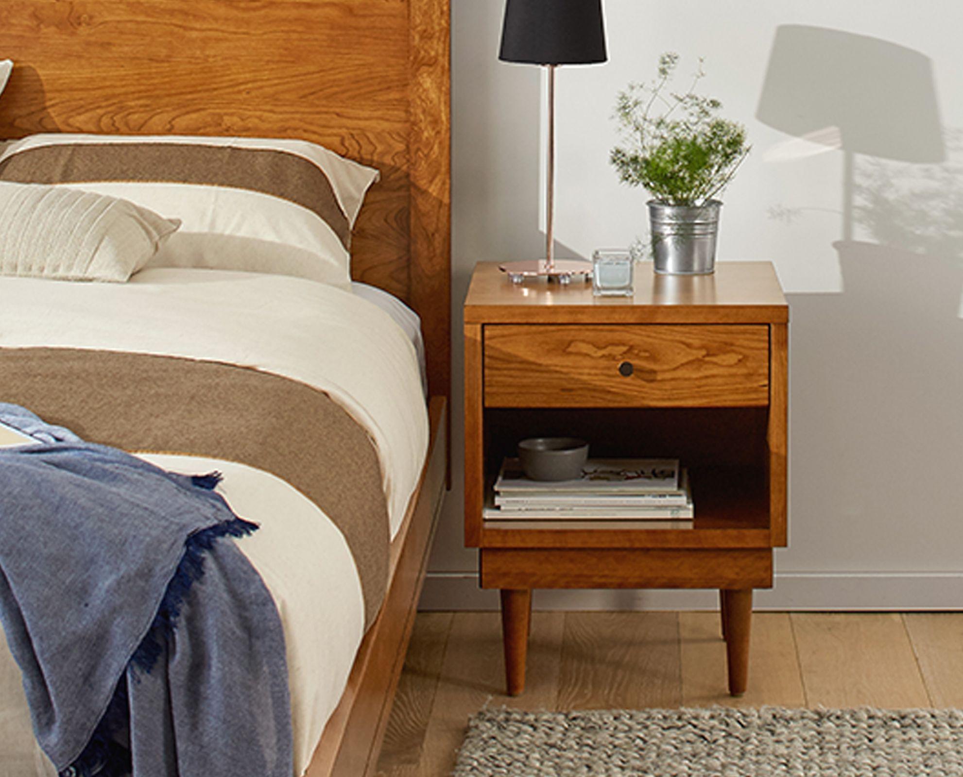 Scandinavian Designs Positioning the Amund nightstand at either