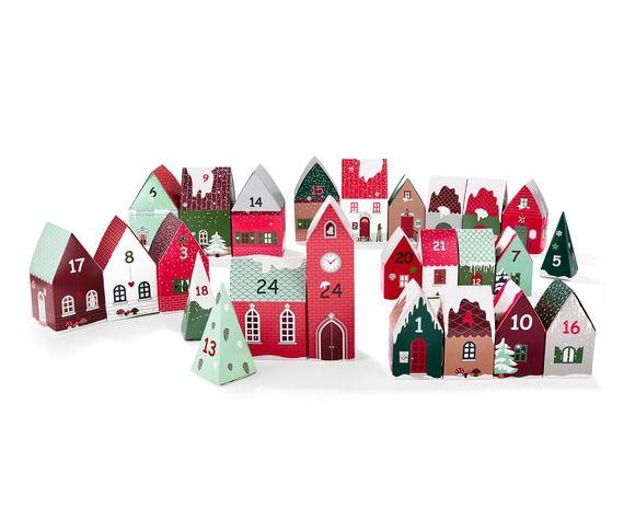 Lot de 24 petites maisons en carton - DIY Calendrier de lu0027Avent à