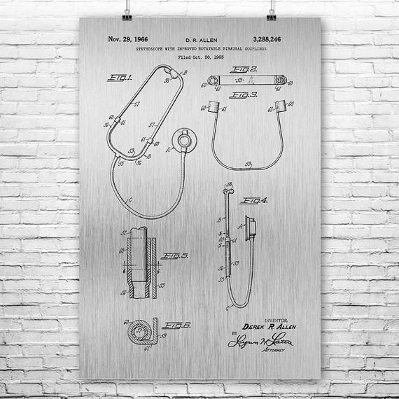 Binaural Stethoscope Poster Print, Nurse Gift, Stethoscope Decor, Medical Student Gift, Medical Art #medicalstudents