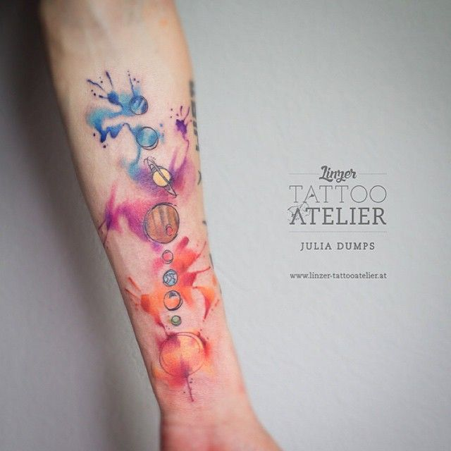 watercolor solar system tattoo - photo #3