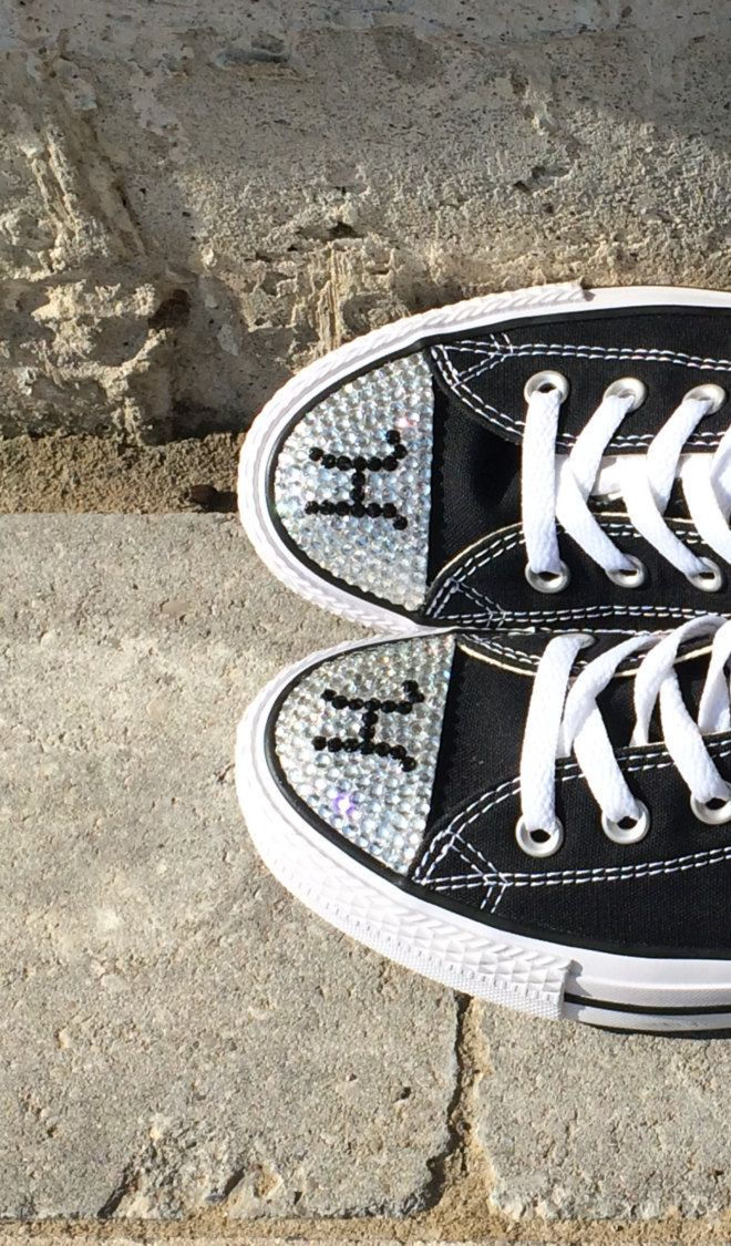 Converse Monogram Shoes. Low Top. Initial Rhinestone Bling. Women s Custom… 7263aa5c7