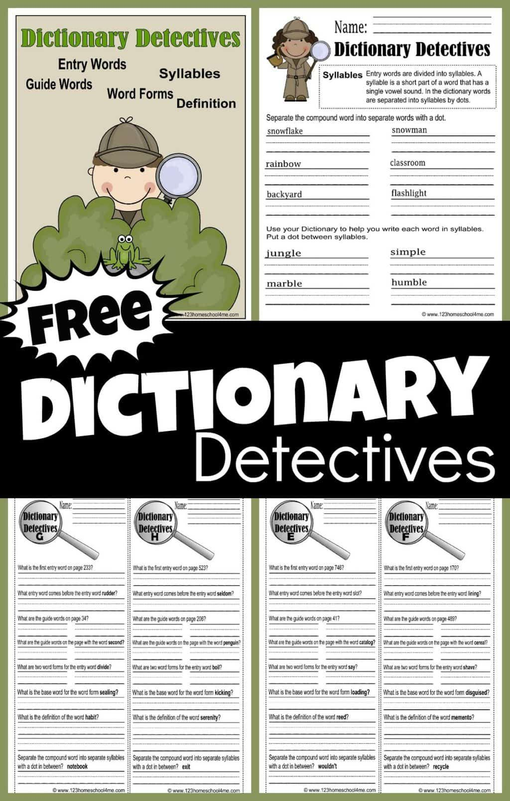 Free Dictionary Detective Worksheets For Kids In