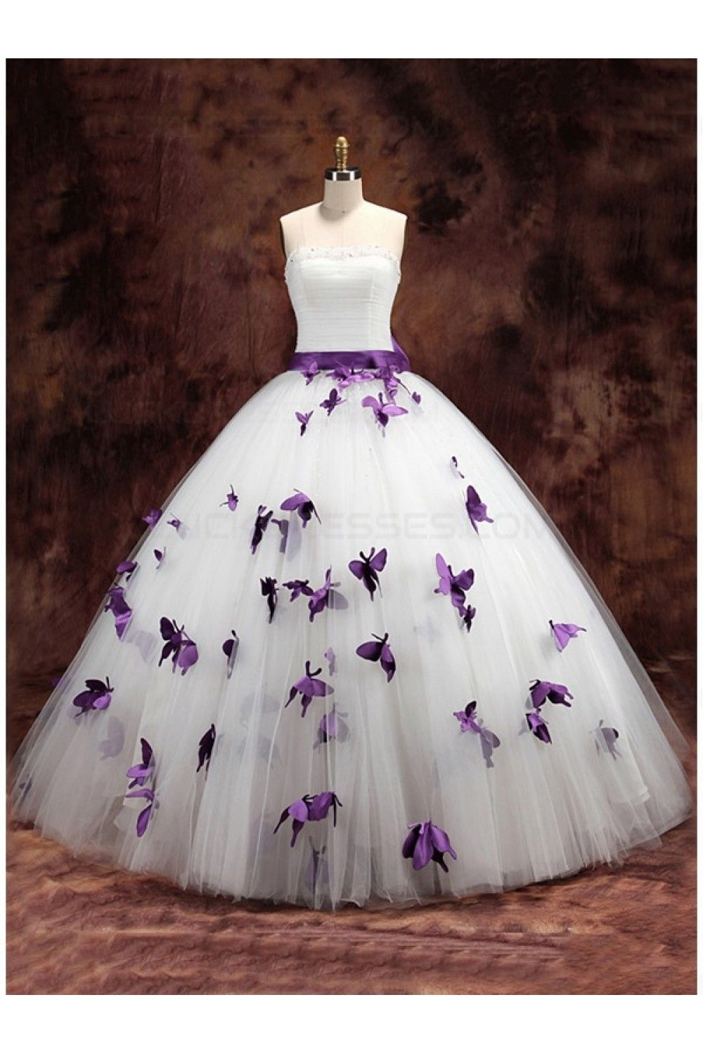 Ball Gown Strapless Purple White Wedding Dresses Bridal Gowns