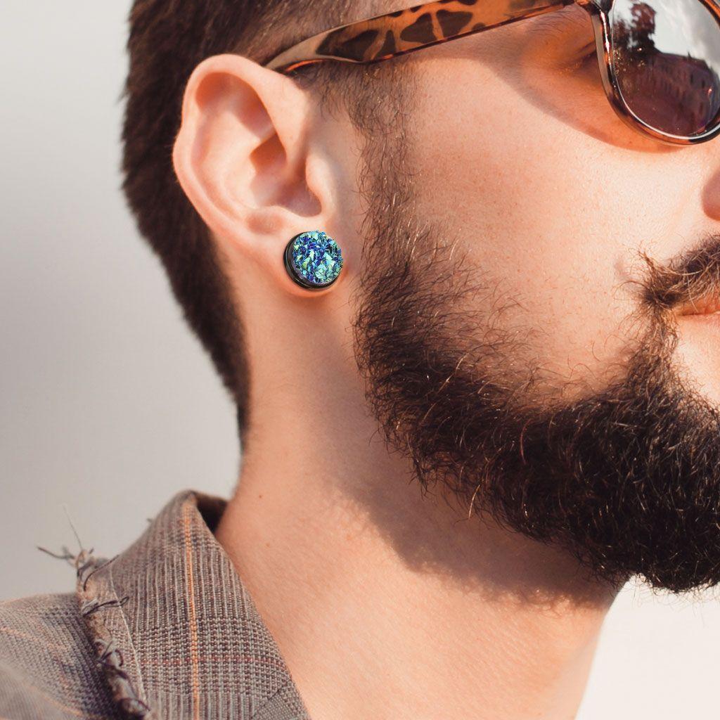 Piercing Flesh Tunnel Earrings Black 316L Surgical Steel