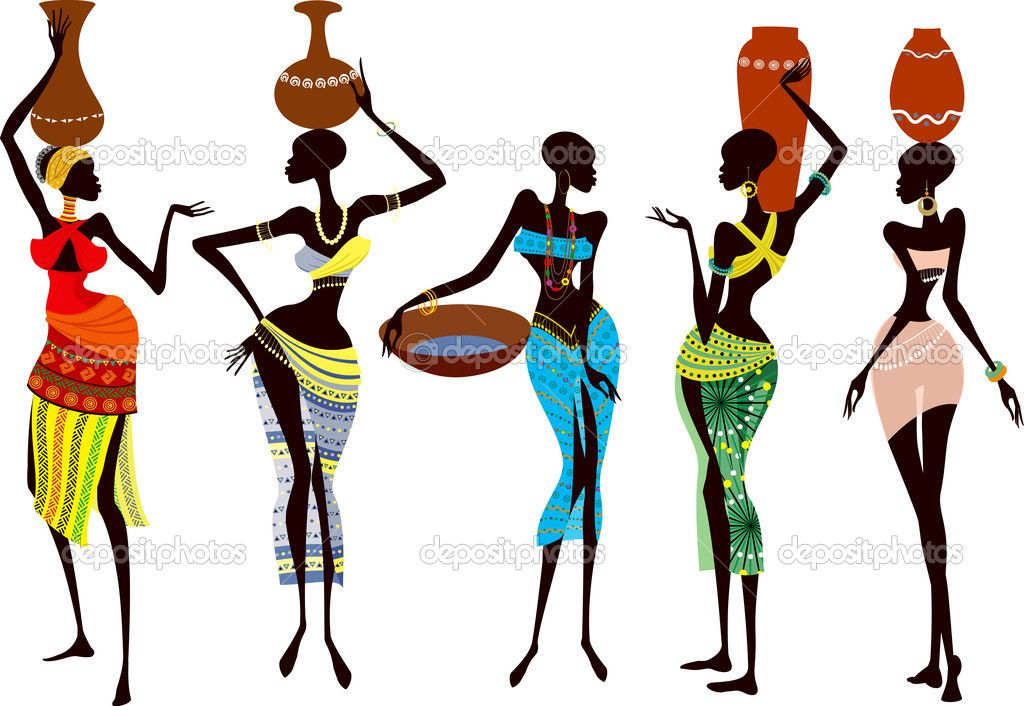 african woman silhouette   Beautiful african women - Stock Illustration