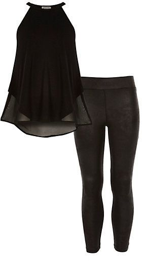 6b612452a5ff90 River Island Girls black chiffon back top and legging top Price:.$32.00 USD