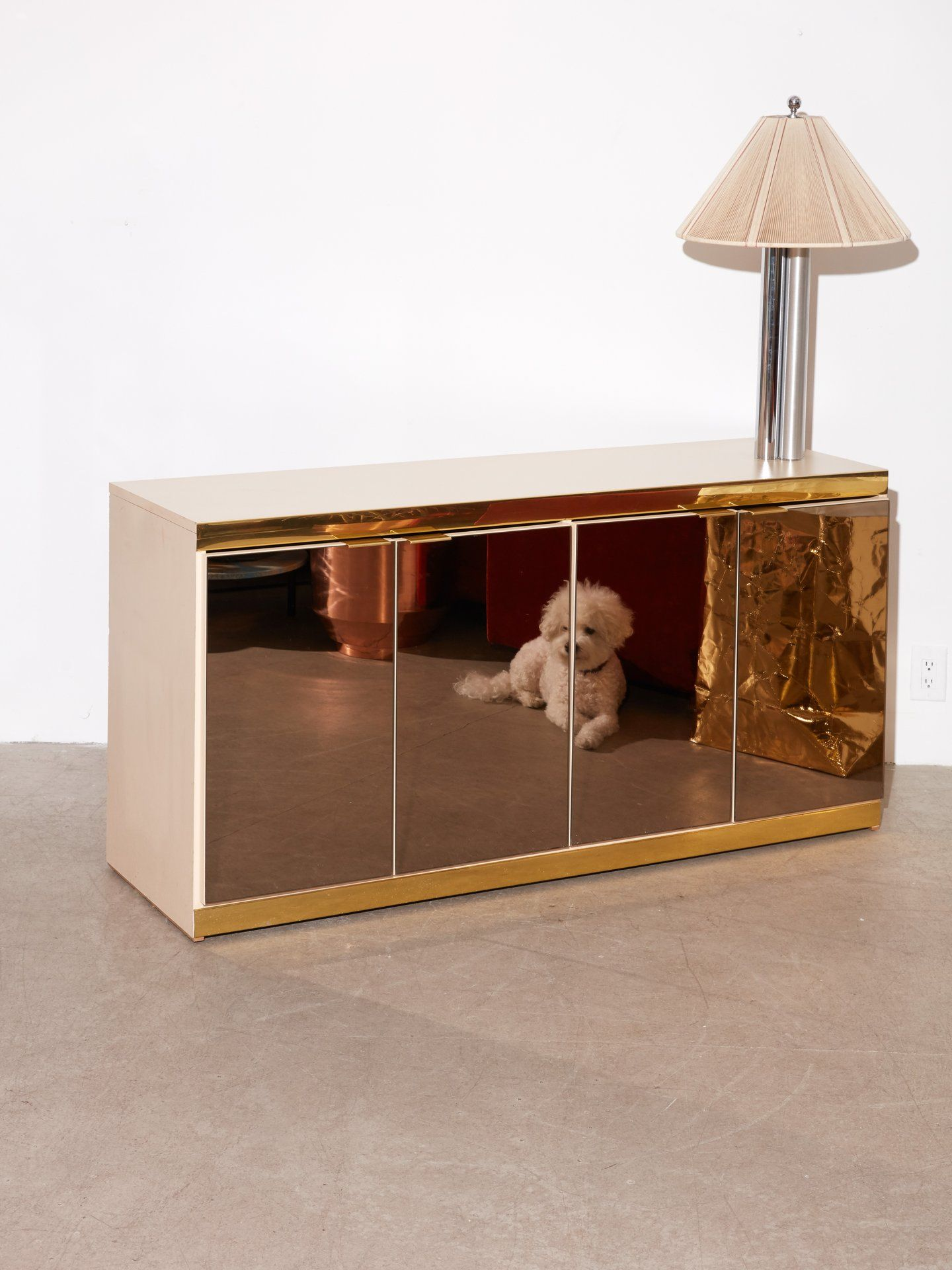 1980s Brass and Tinted Glass Credenza