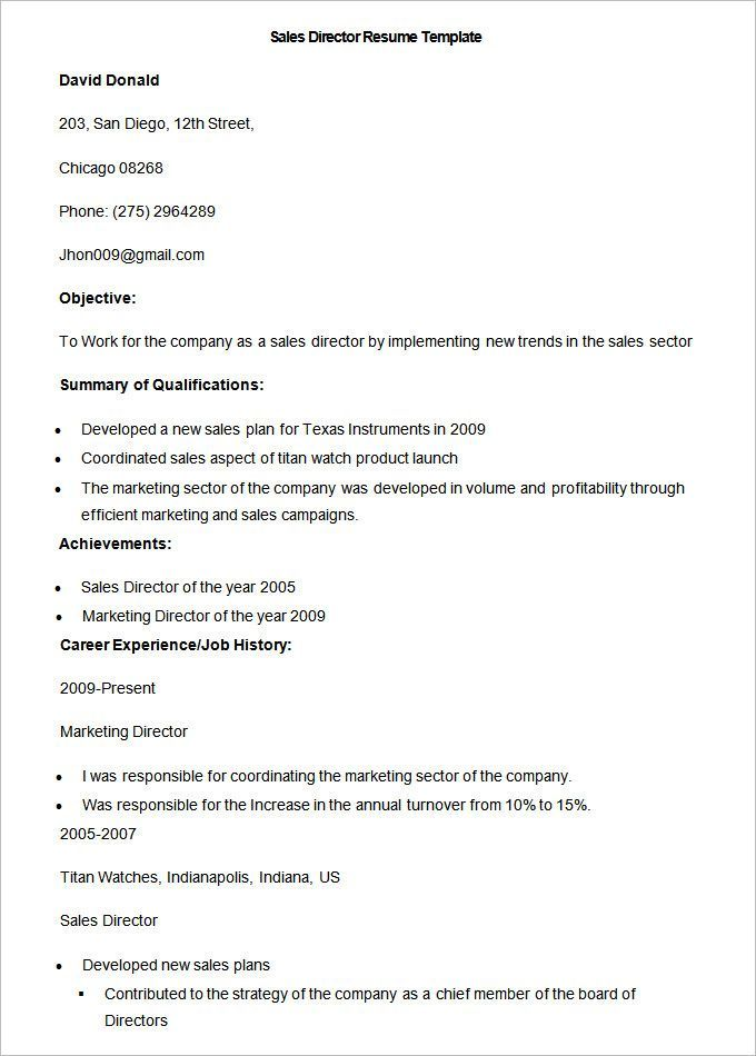 Sample Sales Director Resume Template , Write Your Resume Much
