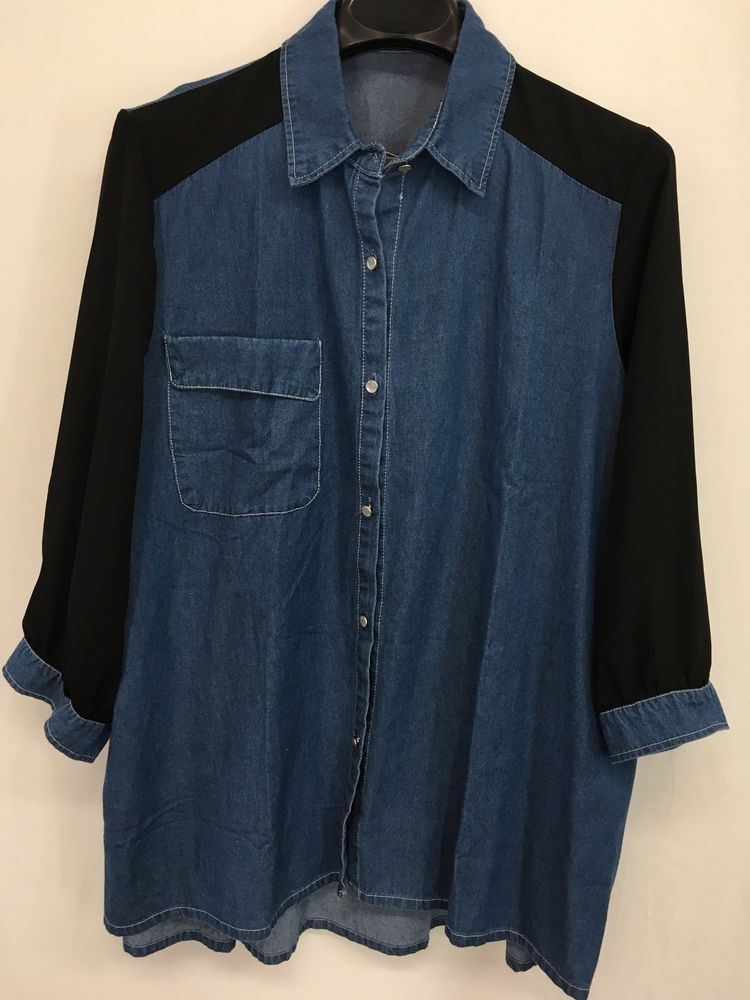 ab4321b6703 WOMENS 3X PLUS SIZE 26 28 BLUE DENIM TOP PEARL-SNAP VINTAGE BLOUSE SHEER  SLEEVES  SYFS  ButtonDownShirt  Career