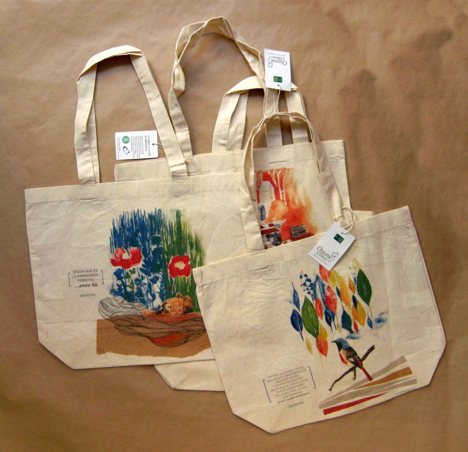 Bolsas de tela 100% algodón orgánico  Medidas: 39 x 35 cm