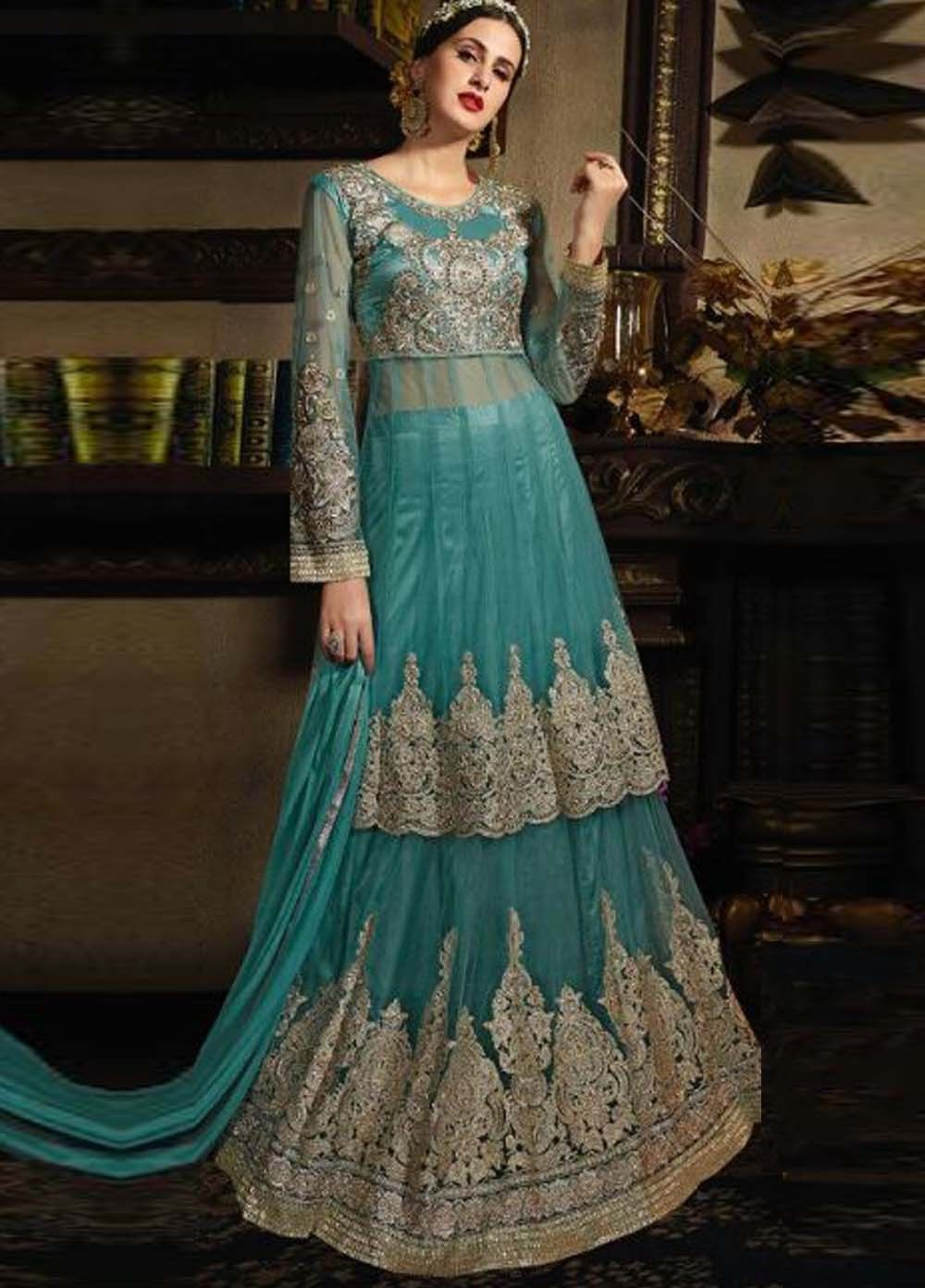 Monumental Firozi Party Wear Anarkali Style Suit | India actress ...