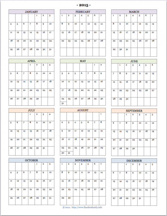 free printable 2015 year at a glance calendar from www