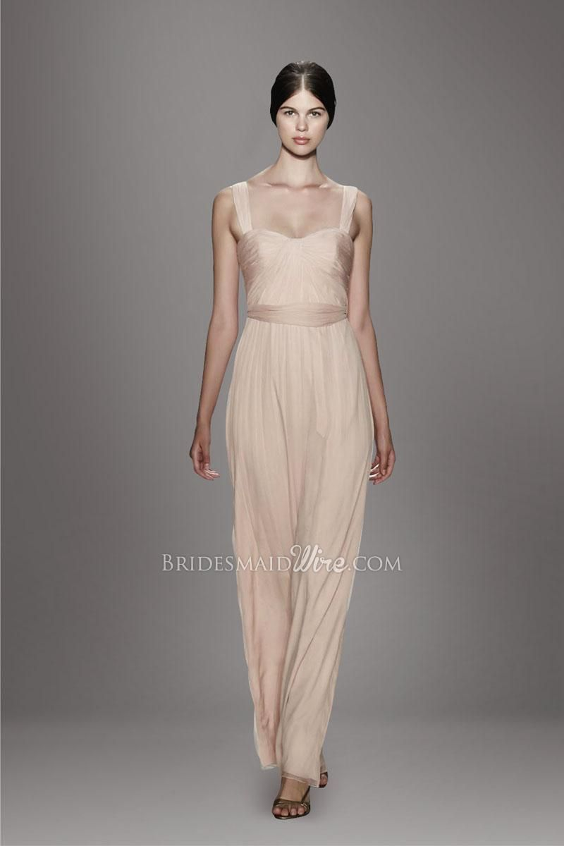 Pearl pink double straps sweetheart bodice pleated bodice a line
