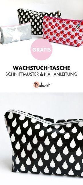 Gratis Anleitung: Wachstuch-Kosmetiktasche nähen - Schnittmuster und Nähanleitung via Makerist.de #bagpatterns