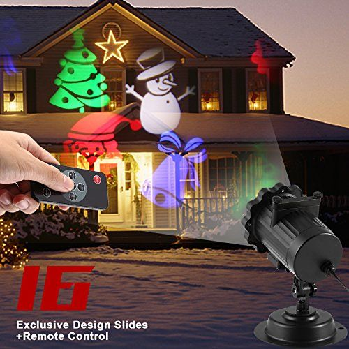 Projecteur ext rieur led no l ocday projecteur lumi re de no l 16 motifs multicolores for Projecteur led decoration noel exterieur