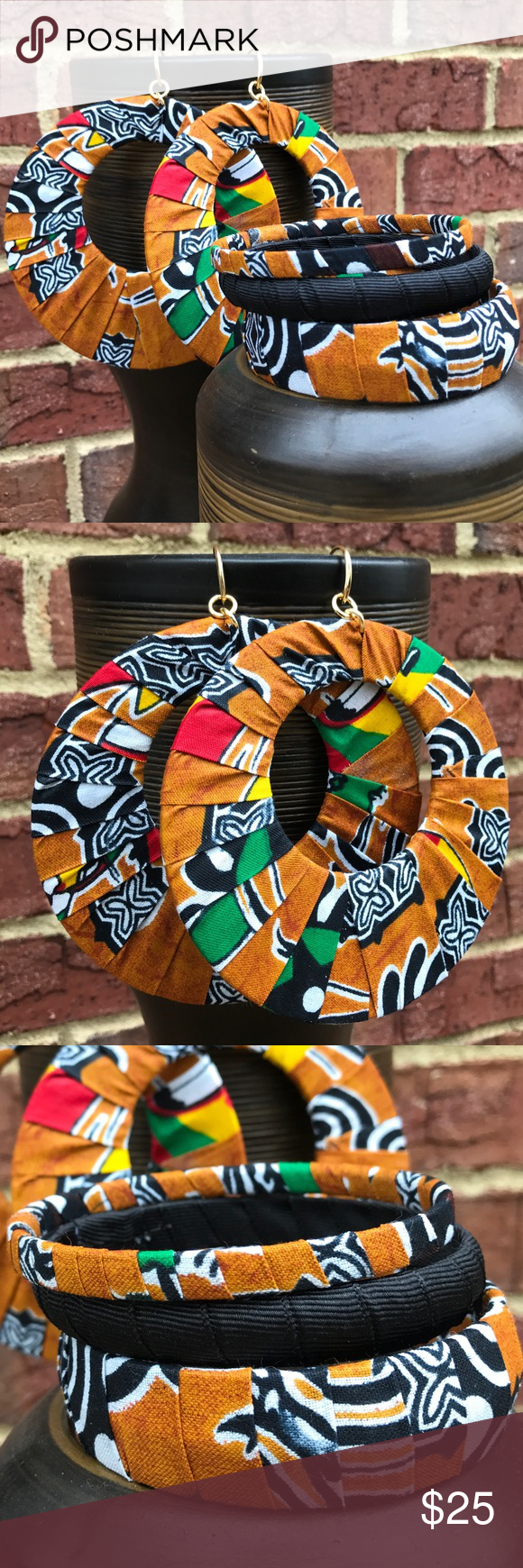 "Bracelet Set Three multi colored Ankara wrap bangles with massive 5""L super light weight matching and pierced round earrings. D.Green Designs Jewelry Bracelets"
