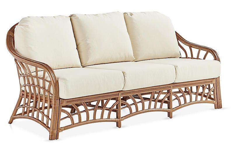 New Kauai Rattan Sofa Natural White