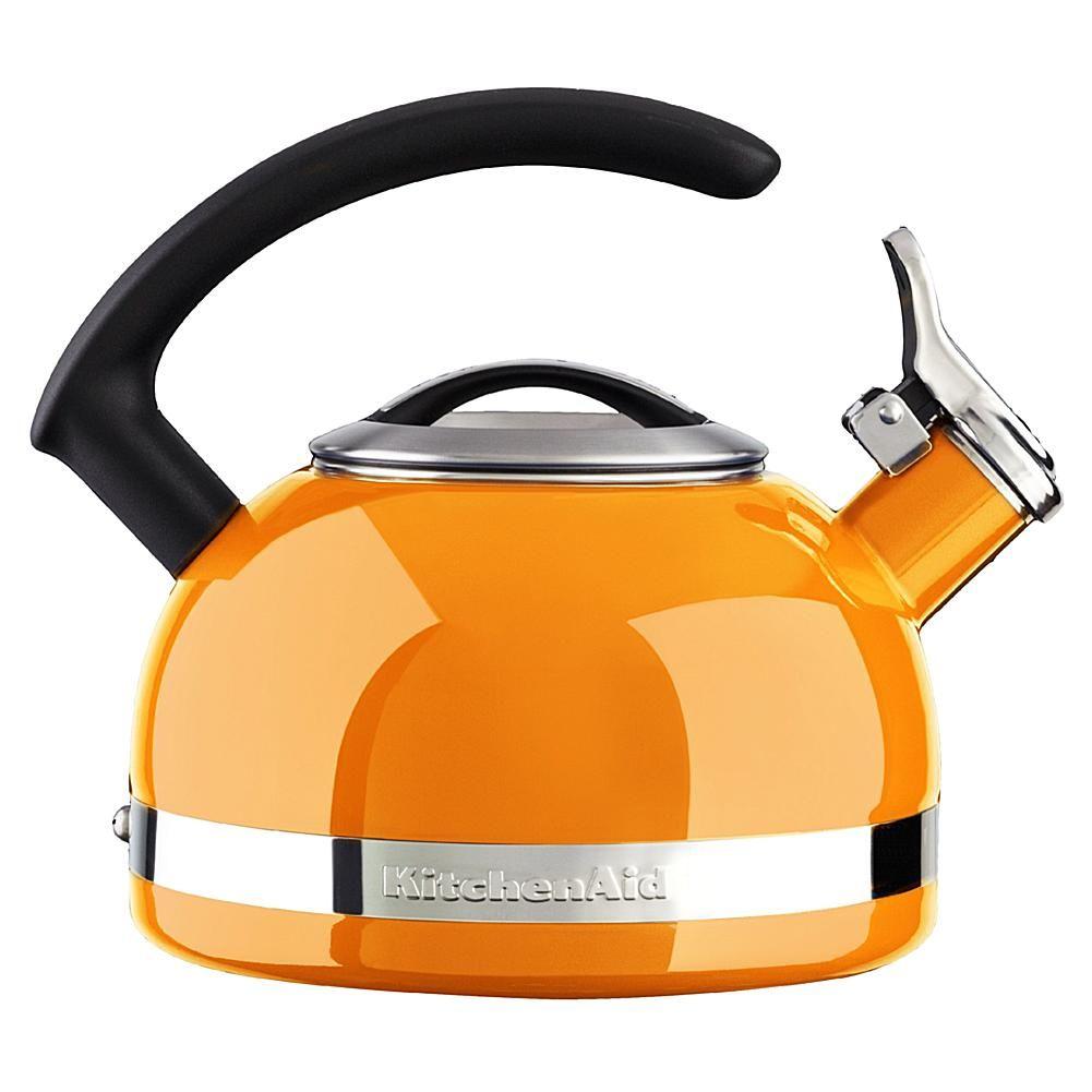 Kitchenaid 2quart stove top kettle with c handle orange