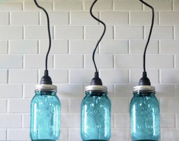 Luxury Blue Industrial Pendant Light