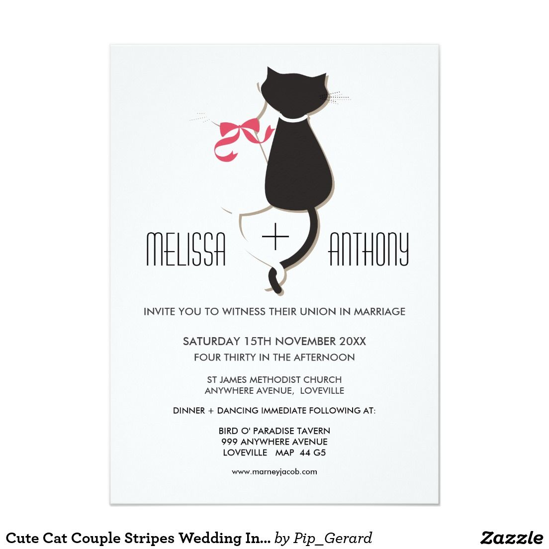 Cute Cat Couple Stripes Wedding Invite 13 Cm X 18 Cm Invitation Card