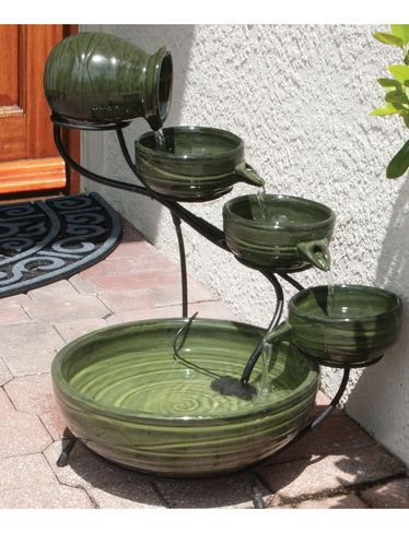Solar Water Fountain Four Tier Cascading Fountain Gardeners Com Garden Fountains Outdoor Garden Lighting Fountain