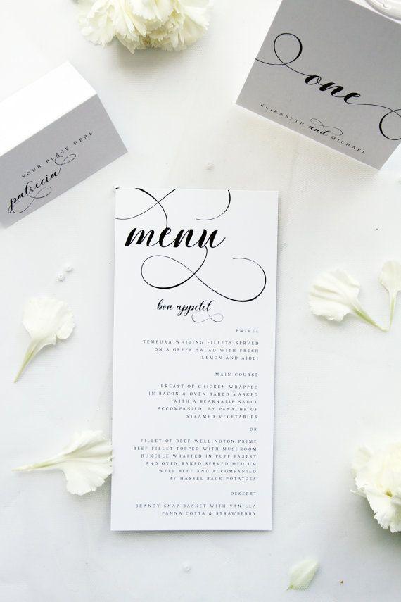 Elegant Menus, Modern and Classy, Premium Paper, Printable File DIY