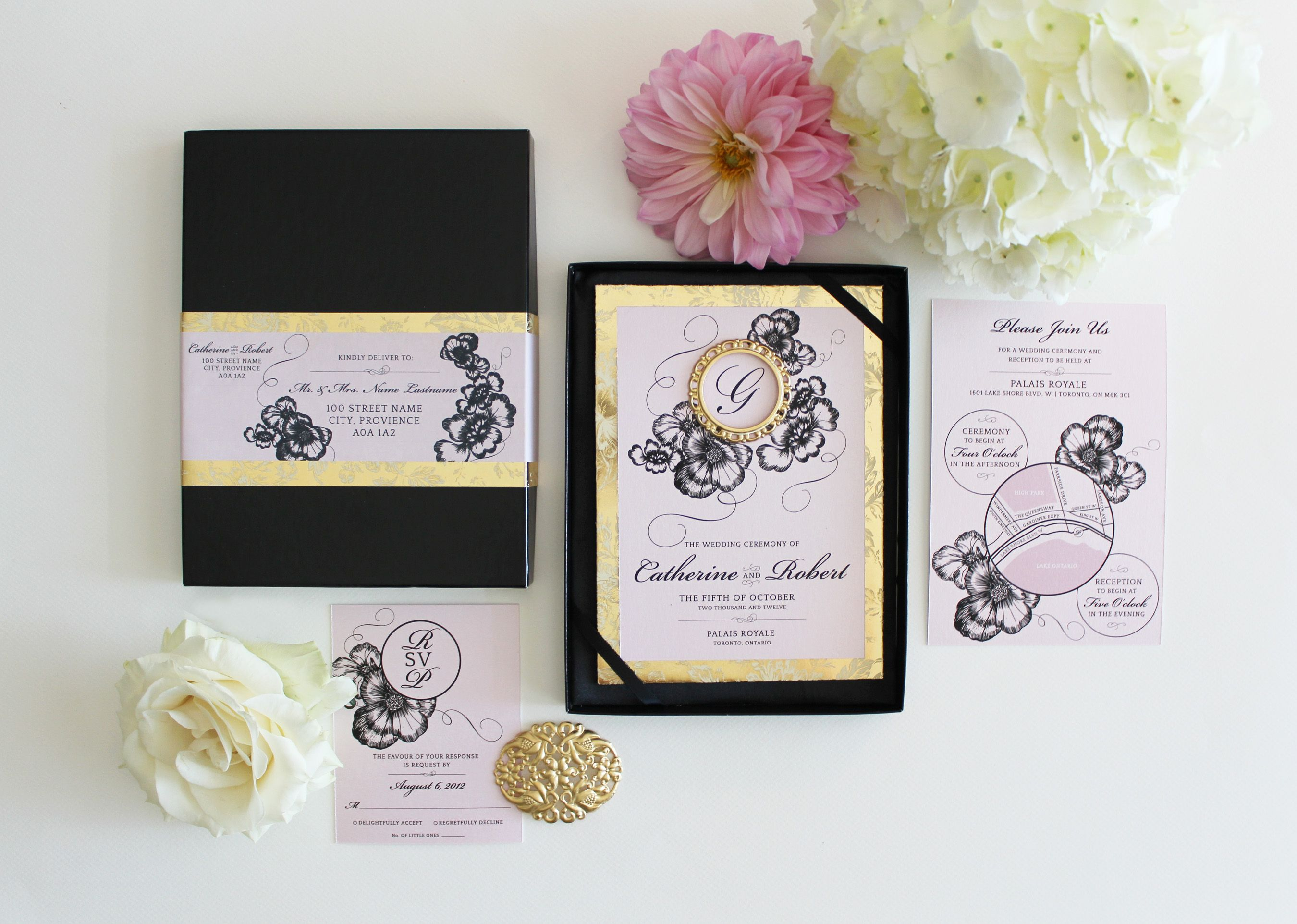 Blush Pink Gold And Black Boxed Wedding Invitation Black Box