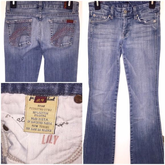 "7 for all Mankind Jeans Seven For All Mankind Jeansin size 24 in LIKE NEW condition! Super cute ""Lily"" style with pink stitching on the back pockets. 27"" inseam done professionally by a tailor. 7 for all Mankind Jeans Boot Cut"