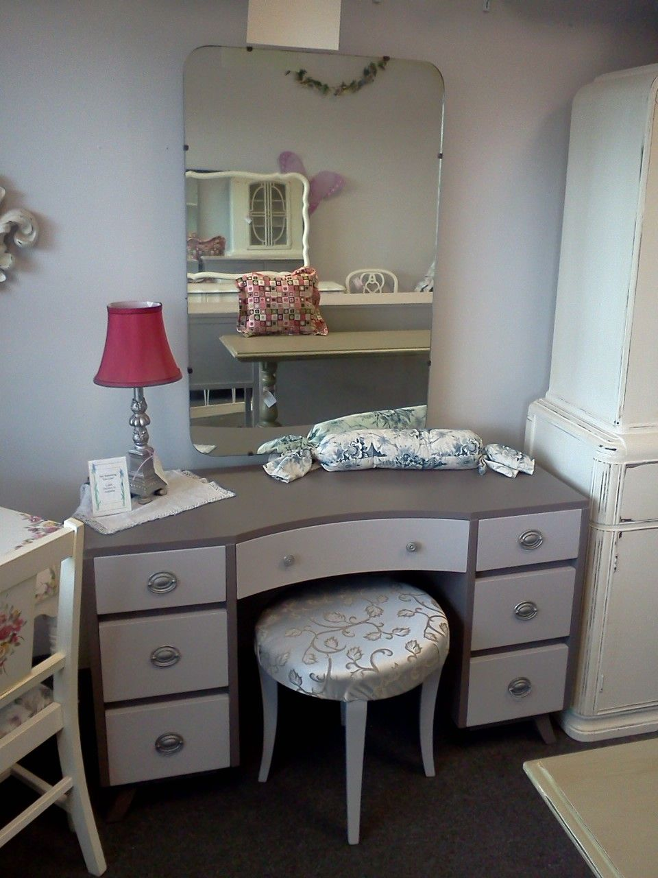 Retro Mid Century Modern Vanity In Two Tone Gray. Please See Our Vintage  Shabby Chic Unfinished Furniture Board For Available Pieces.