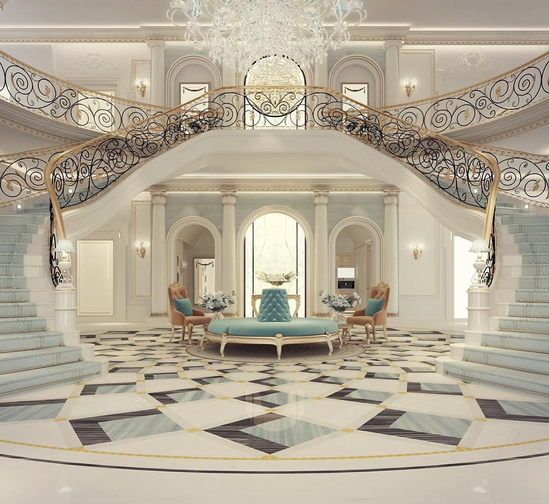 Luxury mansion interior grand double staircased foyer for American home furniture riyadh