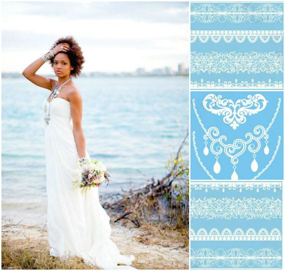 White Wedding Dress With Henna: Boho Beach Bride White Henna Wedding Tattoos 3 By