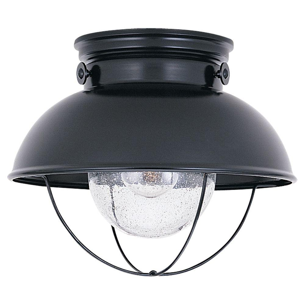 Sea Gull Lighting Sebring 11 25 In W 1 Light Black Industrial Nautical Outdoor Flush Mount With Clear Seeded Glass Shade 8869 12 Outdoor Ceiling Lights Ceiling Mount Light Fixtures Sea Gull Lighting