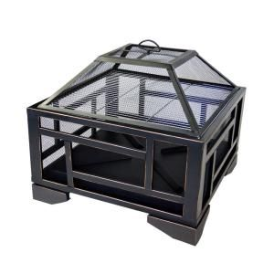 Pleasant Hearth Solus 26 In X 24 In Square Steel Wood Fire Pit In Rubbed Bronze With Cover Ofw526s Wood Burning Fires Wood Fire Pit Wood Burning Fire Pit