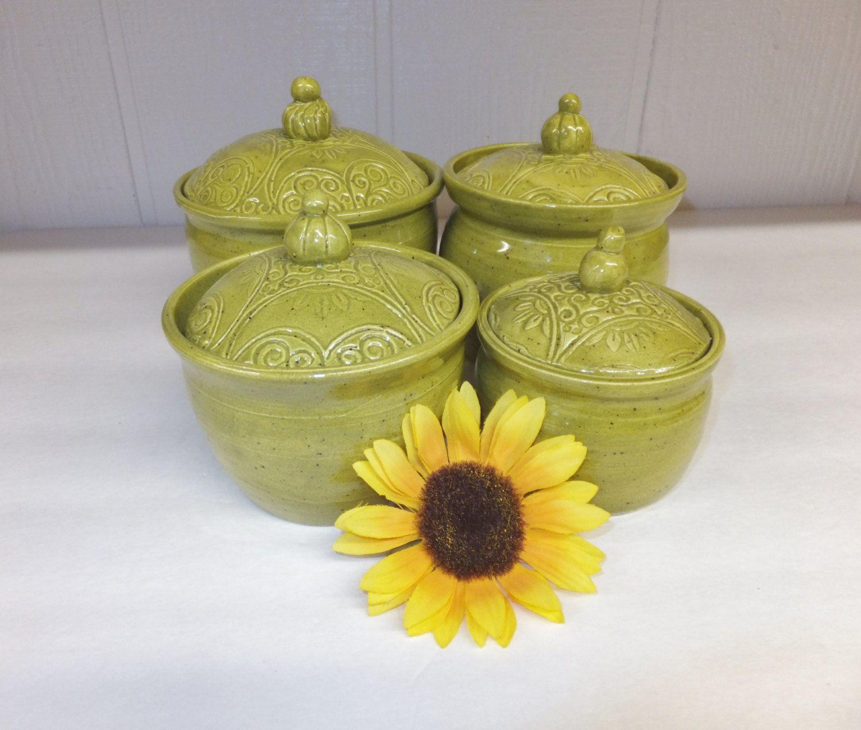 Olive Green Ceramic Canister Set, Handmade Stoneware Pottery Storage Jars, Wild Crow Farm Pottery by WildCrowFarmPottery on Etsy